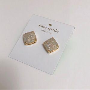 Kate Spade opal white glitter stud earrings